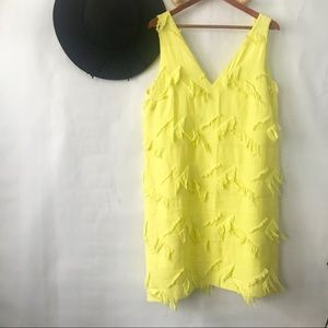 Maeve | Yellow Fringe V Neck Dress Size 12
